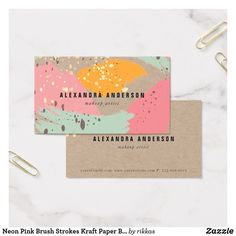 Neon Pink Brush Strokes Kraft Paper Business Card