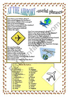 Airport: How to book and board a flight PAGES) - ESL worksheet by jamie_s Grammar And Vocabulary, Vocabulary Worksheets, English Vocabulary Words, English Phrases, Learn English Words, English Lessons, English Grammar, English Teaching Materials, English Teaching Resources