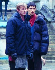 I'm re-pinning this utterly because of the fact that I noticed Colin Morgan tucks his hands into the sleeves of his coat just like I do...Oh, and because it has Colin Morgan and Bradley James in it. :)