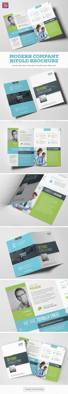 Modern Company Bifold Brochure Highly editable InDesign bifold brochure template. Easy to customize with styles and swatches. Clean visual structure and professional typography.