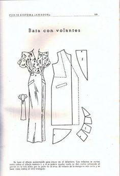 modelagem_1 - costurar com amigas - Picasa Web Albums Vintage Dress Patterns, Vintage Gowns, Clothing Patterns, Retro Vintage, Diy Fashion, Vintage Fashion, Manga, Pattern Drafting, Drawing