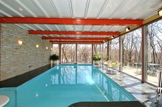 Mid century time capsule home for sale - Des Moines Indoor Swimming Pools, Swimming Pool Designs, Lap Pools, Mid Century Ranch, Mid Century House, Modern Interior Design, Interior And Exterior, Inside Pool, Vintage Interiors