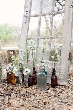 An old door is the perfect backdrop for a rustic celebration.