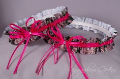 """Wedding Garter Set in Hot Pink & Realtree Camouflage Grosgrain with Swarovski Crystals by Sugarplum Garters 