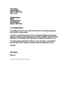 General Cover Letter Sample General Cover Letter Detail Job