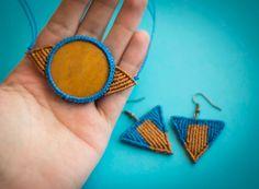 Mustard macrame necklace, mustard geometric micro macrame necklace, blue and…