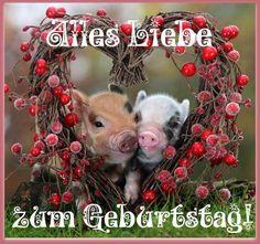 Zwei Schweine in einem Herzen: Alles Liebe zum Geburtstag!