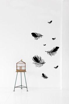 vinil \ Feather (Black) Wall Sticker