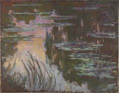 Claude Monet, 'Water-Lilies, Setting Sun' (1907). Red sky at night… Pink and yellow rays of the evening sun are reflected in Monet's pond.  Water-lilies drift across the still water surface.  If this isn't serene, I seriously don't know what is.  Monet's 'all-over' style, mixed with his use of gigantic canvases was a huge influence on the Abstract Expressionists.