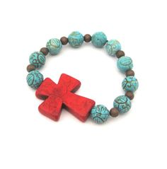 Red Sideways Cross Bracelet with turquoise magnesite and copper metal beads from SassyBelleWares on Etsy