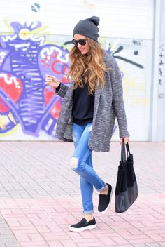 Beanie and long sweater