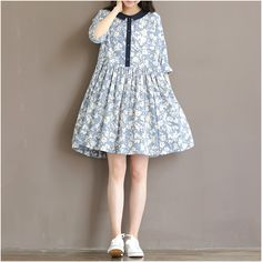 Women printed loose cotton dresses- Buykud -