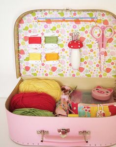 suitcase make over and use it to store craft supplies!