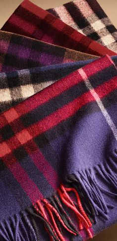 Scottish-woven cashmere check scarves in a variety of shades from the Burberry A/W13 accessories collection