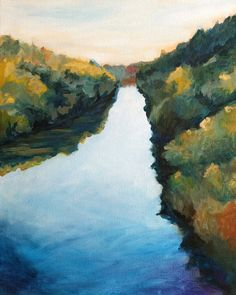 Calm River Landscape Painting Print of by clairespaintings on Etsy