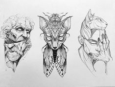 The image may contain: design Tattoo Sketches, Tattoo Drawings, Drawing Sketches, Art Drawings, Blackwork, Sphinx Cat, Bild Tattoos, Goth Art, Vintage Makeup