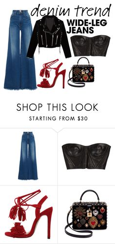 """""""Sexy date night"""" by ireneiraghc on Polyvore featuring Frame, Balmain, Dolce&Gabbana, The Kooples, denimtrend and widelegjeans"""