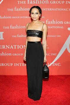 Zoe Kravitz bared her midriff in a sleek design at FGI's Night of Stars.