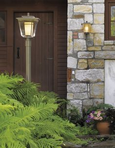 Finding different fixtures from a single collection like this helps outside: spaces are big, cohesive is good, and while they don't exactly match they belong together. These by Hubbarton Forge, in a burnished steel finish! Most exterior fixtures are bronze and brass… this is special!
