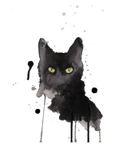 Black cat watercolor 8x10 art print signed by artist #Abstract #watercolor #cat