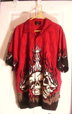 Dragon Fly Clothing Red Skull Design Shirt-2