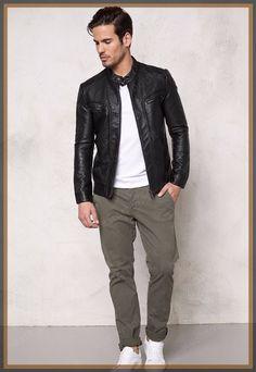 Lambskin Leather Jacket Genuine Mens Stylish Biker Motorcycle Black slim fit X09 #WesternOutfit #Motorcycle