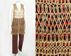 VTG LATE 60s EARLY 70s ANNE KLEIN 2PC MULTI-COLOR TWEED PANTS GOLD VEST SET RARE #AnneKlein