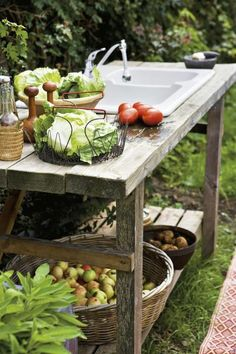 Outdoor garden sink and workspace. More