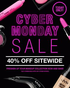 NYX Cosmetics Cyber Monday Sale E-mail #neon #lights #gif