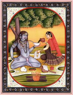 Parvati offering Lord Shiva Bhang, his favourite drink (The Serpent however, gets to it first)