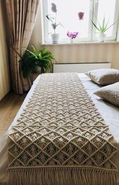 Macrame Bed Runner / Boho Bedroom Decoration / Bed Runner / Table Runner / Christmas Gift / Bohemian Bedroom Decor / Ready to Ship, Bed Runner, Macrame Design, Macrame Art, Macrame Projects, Macrame Knots, Macrame Mirror, Macrame Curtain, Micro Macrame, Etsy Macrame