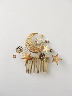 An arrangement of the cosmos on a gold plated comb.  Featuring moon and stars, with moonstone and laboradorite stones.-approx 4in wide by 3in high-laboradorite, moonstone and glass-made in France Cute Jewelry, Hair Jewelry, Jewelry Accessories, Fashion Accessories, Jewellery, Handmade Accessories, Jewelry Rings, Celestial Wedding, Mode Blog