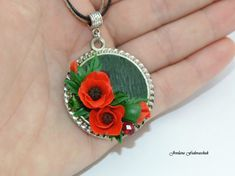 Items similar to Red poppies pendant Flowers Poppies Floral jewelry Gift Women Handmade Cold porcelain Wedding Jewelry Jewelry Valentine's Day Gift for Mom on Etsy Jewelry Gifts, Handmade Jewelry, Unique Jewelry, Handmade Gifts, Valentines Jewelry, Valentine Day Gifts, Silk Ribbon Embroidery, Hand Embroidery, Free Machine Embroidery