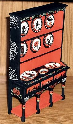 dollhouse miniature hand painted halloween themed hutch and accessories