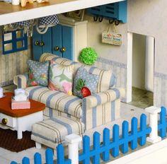 Pokadoll DIY Toy Dollhouse Miniature Beach House Santorini Greece Styl Dollhouse Toys, Dollhouse Miniatures, Greece Style, Greece Fashion, Outdoor Furniture Sets, Outdoor Decor, Santorini Greece, Polymer Clay Art, Diy Toys