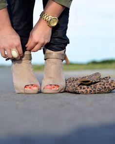 accessories || statement ring, gold watch, leopard clutch