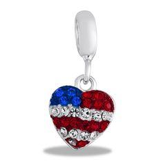 Davinci Beads CZ Patriotic Heart Dangle