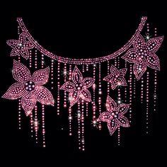11x9  - PINK FLOWER DRIP NECKLINE (STUDS / STONES) - drip, flower, neckline, Pink, pink flower drip, rhinestones, rhinestuds, stones, studs, Material Transfer, Necklines