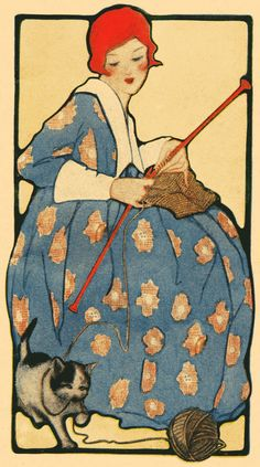 """Woman with cat - """"Illustration from a 1918 knitting booklet."""""""