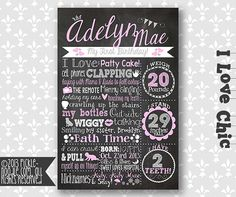 Birthday Chalkboard Poster - Sign - Printable / DIGITAL / Girl or Boy / Baby's First Birthday / Chalkboard Birthday / I Love Chic Chalkboard Poster, Chalkboard Designs, Pink Birthday, Baby First Birthday, Popular Birthdays, First Birthdays, First Birthday Chalkboard, Shabby Chic Pink, Yet To Come
