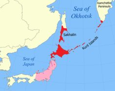 Ainu people in the red areas. Note-Hokaido is an island joined by a bridge to the main island of Japan. It is still regarded as part of Japan.