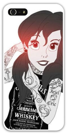 Tattooed Ariel The Little Mermaid Cell Phone Case Cover iPhone 4/4S 5/5S Samsung Galaxy S3 S4 Disney Princess Jack Daniels Piercings $24.99+Free Shipping