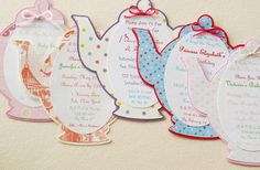 Really cute invite ideas for tea party. Also make a smaller version of these for party favor tags.