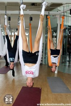 Aerial Yoga. Props to those of you who can do this. I think I'd leave this class on a gurney!