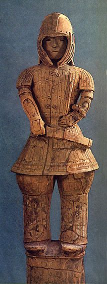 The Kofun period (AD.250–AD.592) Haniwa terracotta clay figure of a man in armour.  Gunma Japan.