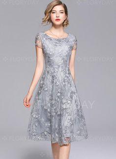 Dress - $56.13 - Solid Lace Short Sleeve Midi A-line Dress (1955312562)