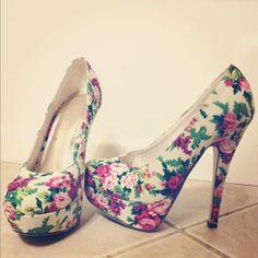 floral print flower heels