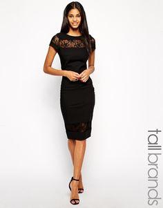little black midi dress; pencil dress with lace inserts
