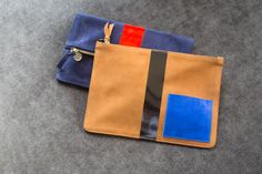 Margot foldover and flat clutch with suede pocket.