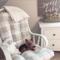 """Our sweet customer, Shannon Lima, said """"Stunning, custom work! Would refer to anyone! Shipped sooner than anticipated which was a nice surprise!"""" Thanks for sharing your Rocker with us. It looks fantastic in your # Glider Rocker Cushions, Chair Cushions, Checked Cushions, Custom Cushions, Plaid Fabric, Cushion Fabric, Nursery Neutral, Buffalo Plaid, Gender Neutral"""